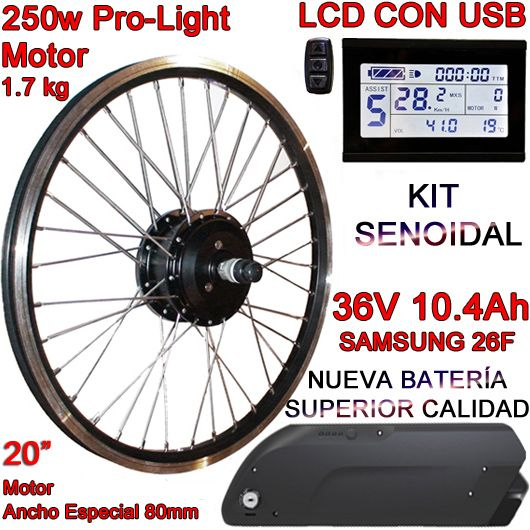 "KIT PRO-LIGHT 250W LCD USB 20"" BATERÍA FR4 10.4Ah"