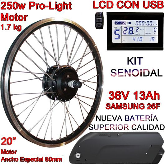 "KIT PRO-LIGHT 250W LCD USB 20"" BATERÍA FR5 13Ah"