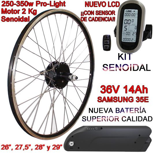 KIT PRO-LIGHT 250-350W LCD6 USB BATERÍA FR4 14Ah
