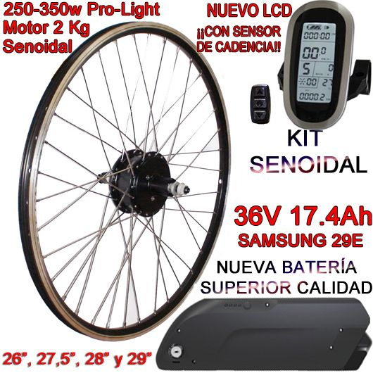KIT PRO-LIGHT 250-350W LCD6 USB BATERÍA FR6 17.4Ah