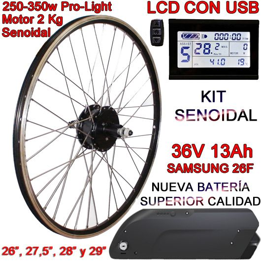 KIT PRO-LIGHT 250-350W LCD USB BATERÍA FR5 13Ah