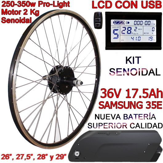 KIT PRO-LIGHT 250-350W LCD USB BATERÍA FR5 17.5Ah